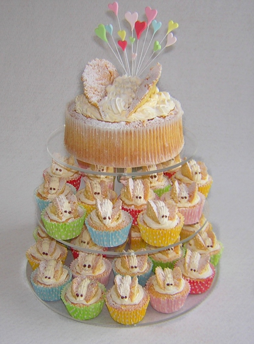Cupcake cake with butterflies