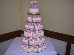 pink rose cupcake tower